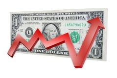 Gelddollar mit Diagramm oben Lizenzfreies Stockbild