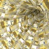 Gelddraaikolk van 200 euro nota's Royalty-vrije Stock Foto's
