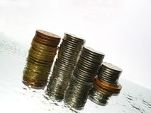Gelder auf dem Wasser Stockfotos