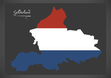 Gelderland Netherlands map with Dutch national flag Royalty Free Stock Images