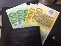 Geldeuro auf Geldbörse Lizenzfreie Stockfotografie