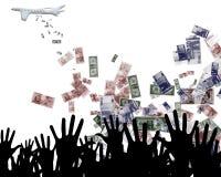 Geldfallen Stockfoto
