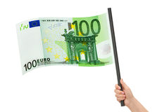 Geldflagge in der Hand Stockbild
