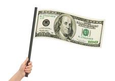 Geldflagge in der Hand Lizenzfreie Stockfotografie