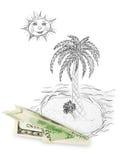 Geldflugzeug und tropische Insel Stockfoto