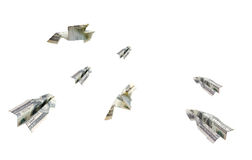 Geldflugzeuge Stockfoto