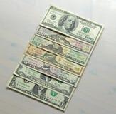 Geldfoto Papierdollar verschiedene Bezeichnungen - 1, 2, 5, stockbild