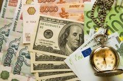 Geldgeld Dollar-Rubel-Euro Stockbild