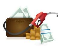 Geldgeldbörse mit einer Gaspumpendüse Lizenzfreie Stockfotografie