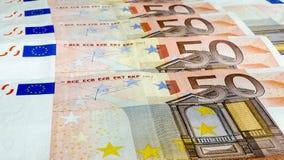 Geldhintergrund des Euros fünfzig Stockfoto