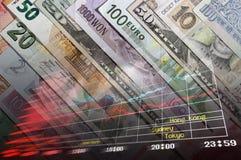 Geldhintergrund mit Diagrammen Lizenzfreie Stockbilder
