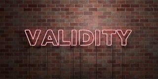 GELDIGHEID - fluorescent T.L.-buisteken op metselwerk - vooraanzicht - 3D teruggegeven royalty vrij voorraadbeeld royalty-vrije illustratie