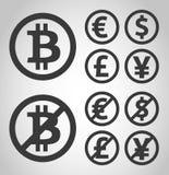 Geldikonen Bitcoin, des Euros, des Dollars, des Gusses und der Yen Stockfotografie