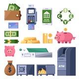 Geldikonen eingestellt Finanz-, Bankwesen-, Investitions- und Handelssymbol ATM, Anschluss, Dollar, Sparschweinillustration lizenzfreie abbildung