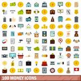 100 Geldikonen eingestellt, flache Art Lizenzfreies Stockbild
