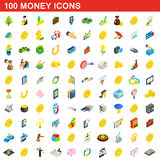100 Geldikonen eingestellt, isometrische Art 3d Lizenzfreie Stockbilder