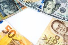 Geldkader van diverse bankbiljetten van verschillende landen in wor royalty-vrije stock afbeelding