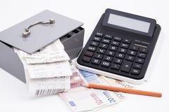Geldkassette Rechnungen Taschenrechner Royalty Free Stock Image