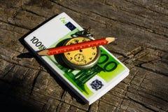 Geldkompas Royalty-vrije Stock Foto's