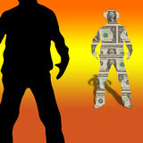Geldkonkurrenzcowboyshowdown-Dueldollar stockfotos