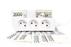 Geldkonzept der teuren Energierechnung Stockfotos