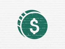 Geldkonzept: Dollar-Münze auf Wandhintergrund Lizenzfreies Stockfoto