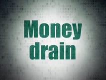Geldkonzept: Geld-Abfluss auf Digital-Daten-Papierhintergrund Lizenzfreies Stockfoto