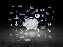 Geldkonzept: Geld-Kasten in der Schmutzdunkelkammer Lizenzfreies Stockfoto