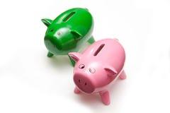 Geldkästen der Piggy Querneigung Stockbild