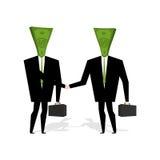 Geldleute machen Abkommen Geschäftsmänner, die Hände rütteln Händedruck cas stock abbildung
