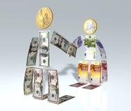 Geldmänner, die Hände rütteln stock abbildung