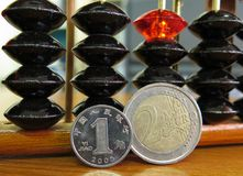 Geldmünze Euroyuan mit Abakus Lizenzfreie Stockfotografie