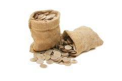 Geldmünzen im Beutel Stockbild