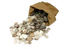Geldmünzen im Beutel Lizenzfreies Stockbild