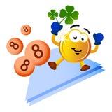 Geldmünzenmaskottchen auf Lotterieglück Lizenzfreie Stockfotos