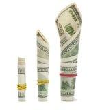 Geldmengenwachstum auf Weiß Stockbild