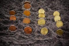 Geldmengenwachstum hundert Dollarschein, der im grünen Gras wächst Euromünzen, die vom Boden wachsen Selektiver Fokus Stockfotografie
