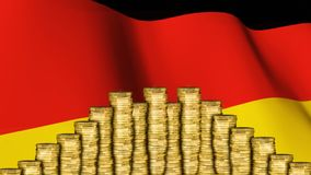 geldmuntstukken tegen Duitse vlag stock video