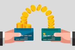 Geldoverdracht van één kaart aan een andere Stock Fotografie