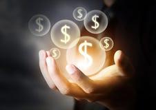Geldpictogram in bedrijfshand Royalty-vrije Stock Afbeelding