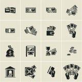 Geldpictogrammen, financiën, bedrijfs geplaatste pictogrammen, het geld van de handholding, vector illustratie