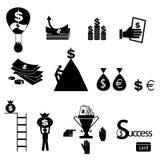 Geldpictogrammen geplaatst vector Stock Foto