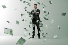 Money rain on successful man stock illustration