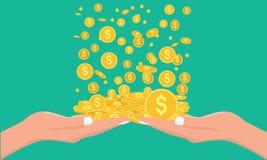 Geldregen, der unten in Hand fällt Art des flachen und Normallacks Lizenzfreies Stockfoto