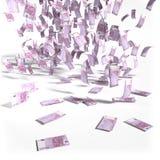 Geldregen van 500 euro rekeningen stock afbeelding