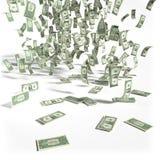 Geldregen von 1 Dollarscheinen Stockfoto