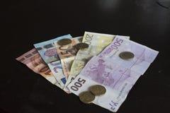 Geldrekeningen en euro muntstukken op een lijst