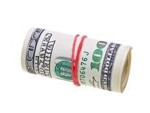 Geldrolle mit den Dollarrechnungen getrennt auf Weiß Lizenzfreies Stockbild
