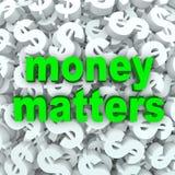 Geldsache-Wort-Dollar-Zeichen-Währungs-Hintergrund Lizenzfreie Stockfotos