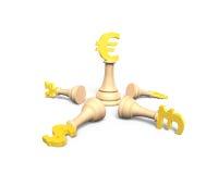 Geldschach mit goldenem Eurowährungskönig, Illustration 3D Stockbilder
